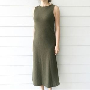 Eileen Fisher Olive Green 100% Wool Midi Dress